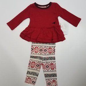 Burts Bees Baby 2 Pc Knit Top Leggings Size 0-3M